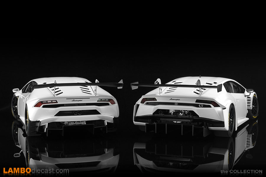 The rear of the Huracan Super Trofeo on the left is very different to the GT3 version on the right