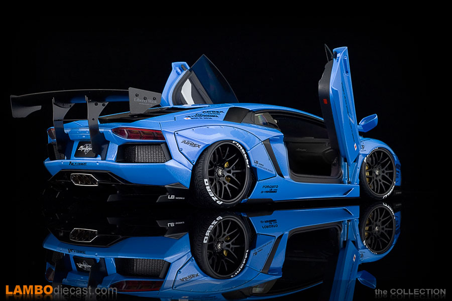 Rear view of the Aventador LB-Works by AUTOart in blue metallic