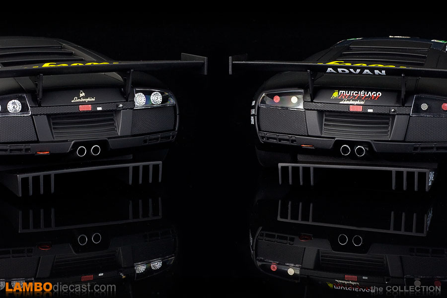 Rear view of the the Kyosho 2005 edition on the left and the GT Spirit, 2007 version on the right.