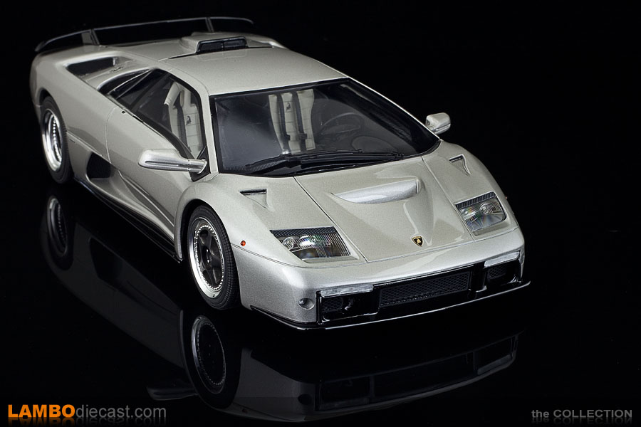 The silver metallic Lamborghini Diablo GT 1/18 scale by GT Spirit