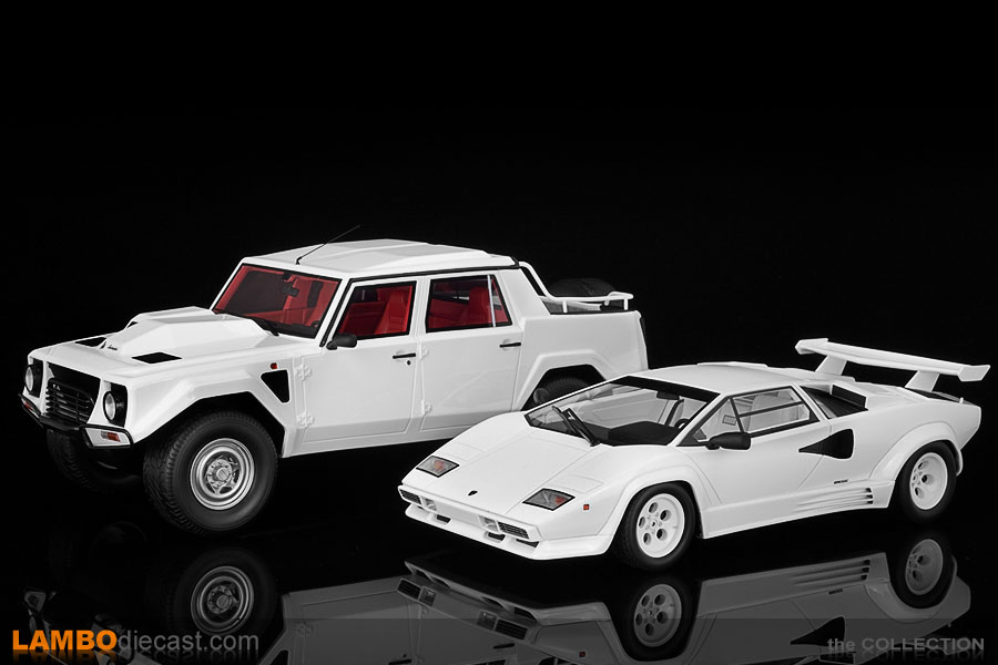 The massive Lamborghini LM002 next to the much lower Countach