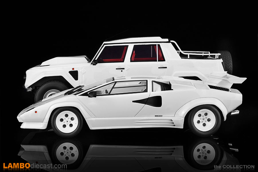 This angle clearly shows just how low the Countach is next to the big LM002