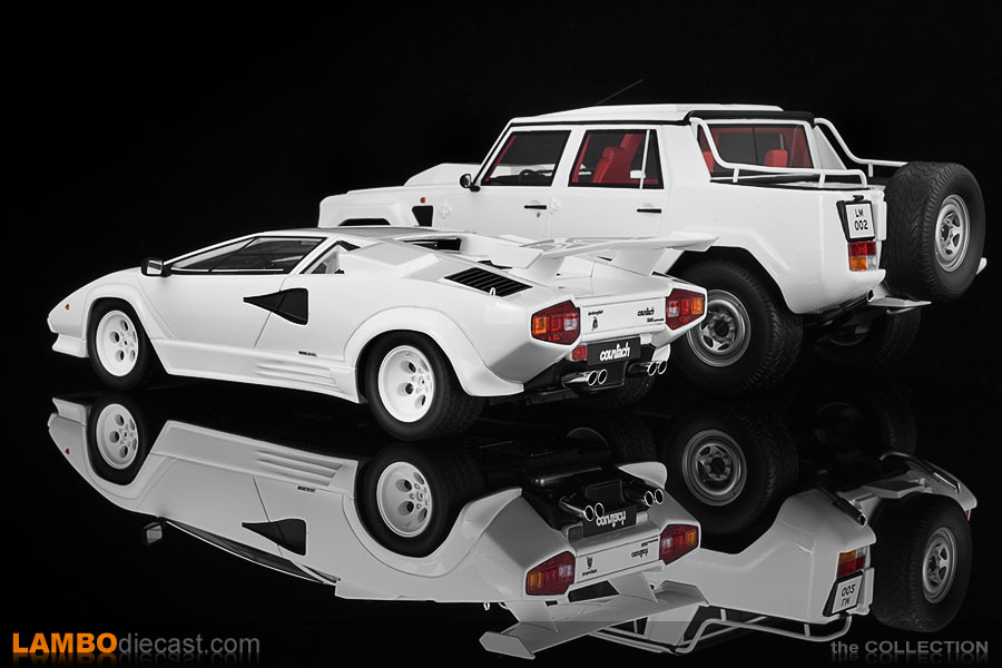 Rear view of the Lamborghini LM002 and Countach Quattrovalvole side by side