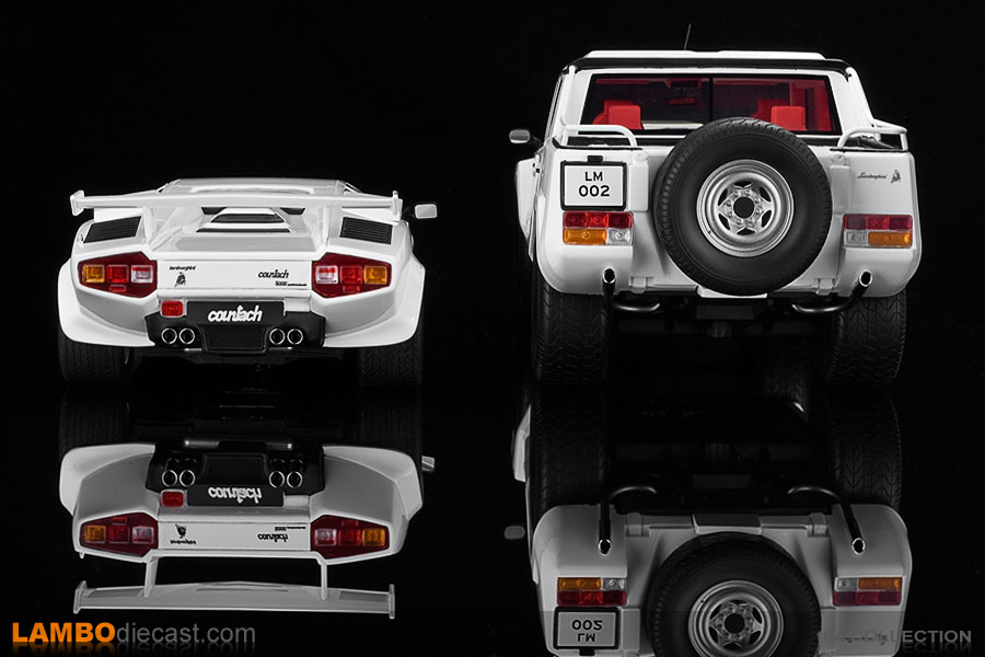 The rear of the Countach looks amazing, but the LM002 completely overpowers her