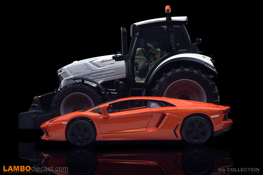 Compare the massive size of this tractor against an Aventador LP700-4 in the same scale