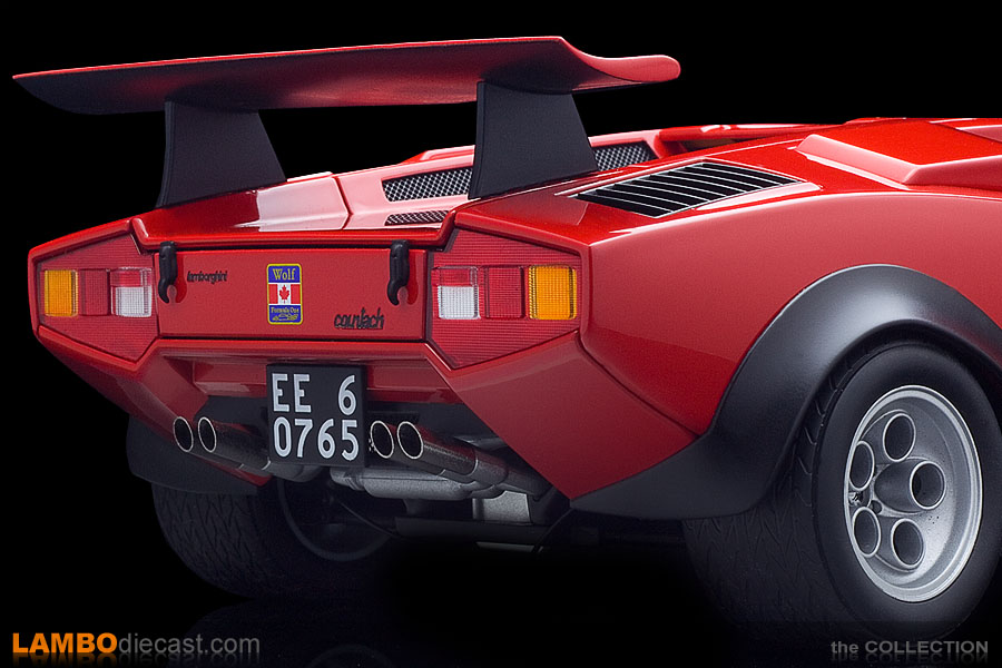 A closer look at that massive rear wing and wide tires on the Walter Wolf Countach