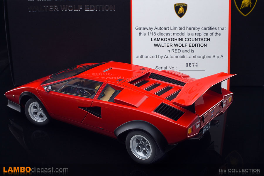 The AUTOart Lamborghini Countach Walter Wolf edition comes with a numbered certificate
