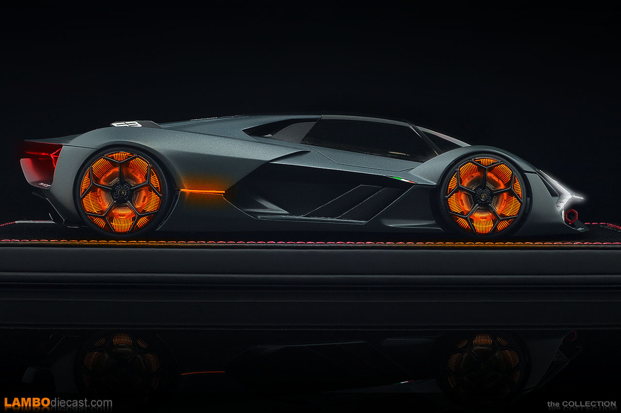 I couldn't resist adding the light effects on the wheels, which glow orange on the real Terzo Millennio while driving
