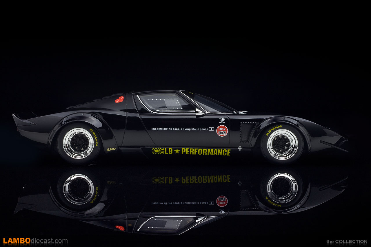 A full side view of the very low and wide Lamborghini Miura LB-Works scale model by GT Spirit