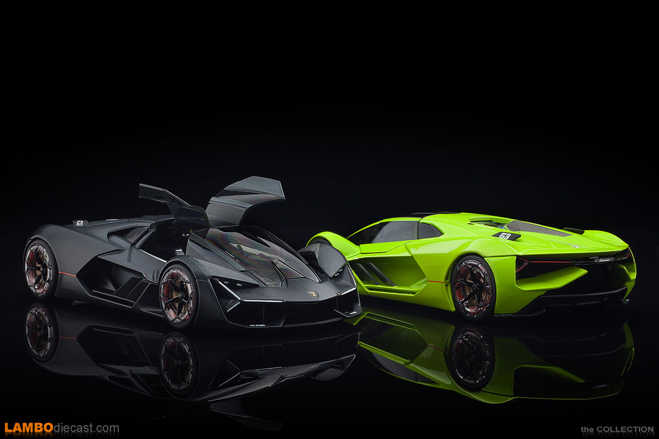 Both 1/24 scale Lamborghini Terzo Millennio made by Bburago side by side