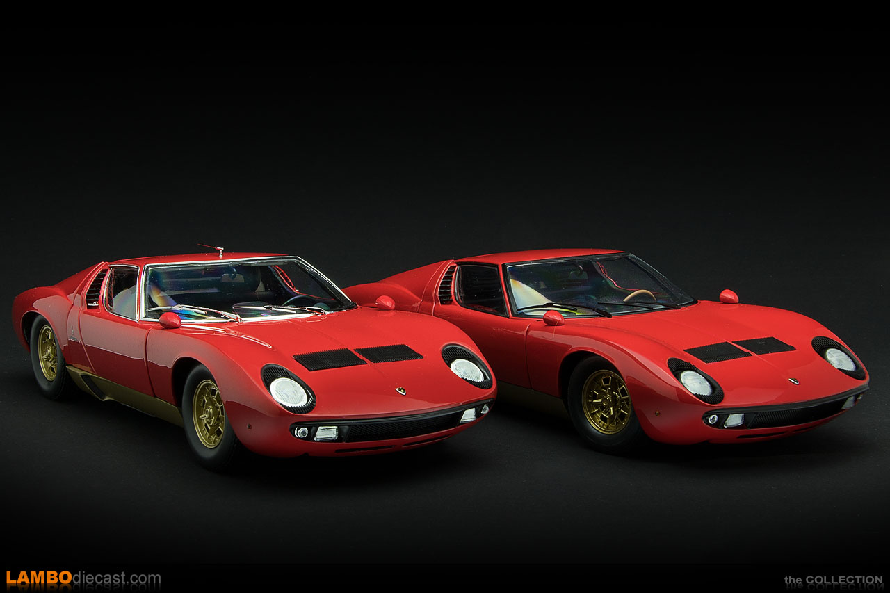 The new Lamborghini Miura S next to the old Miura, both from Kyosho