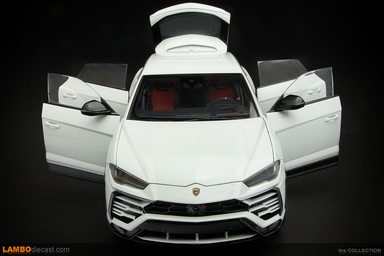 Doors and rear hatch open on the AUTOart Lamborghini Urus scale model