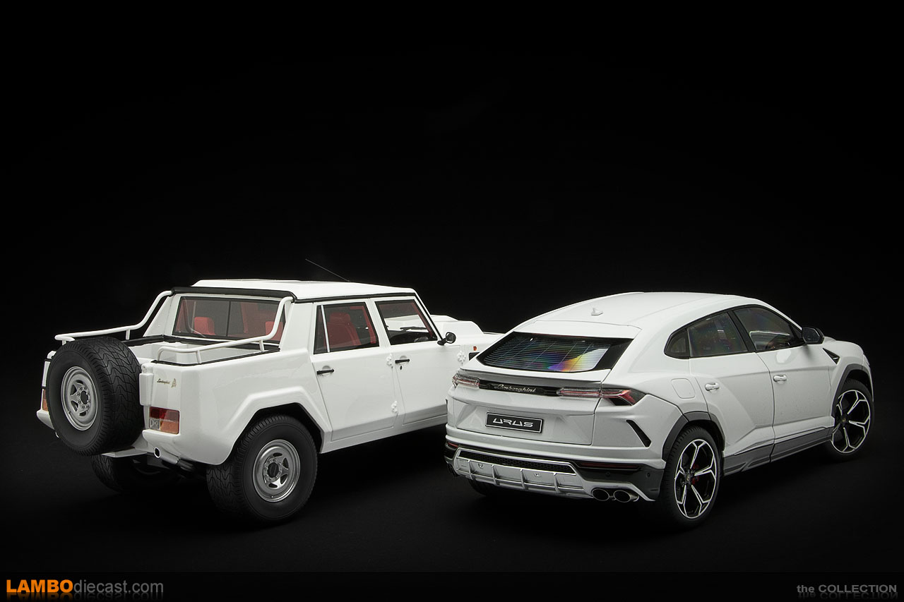The Lamborghini Urus next to the matching Lamborghini LM002