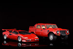 Two Lamborghini models from the same era, the Countach and the LM002