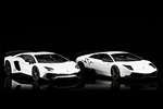 The 2009 Murcielago LP670-4 Superveloce next to the 2015 Aventador LP750-4 Superveloce