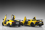 Rear view of the Murcielago and Aventador