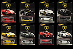 The entire series of 8 Lamborghini models