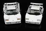The Countach LP500 S on the left and the Countach Quattrovalvole on the right