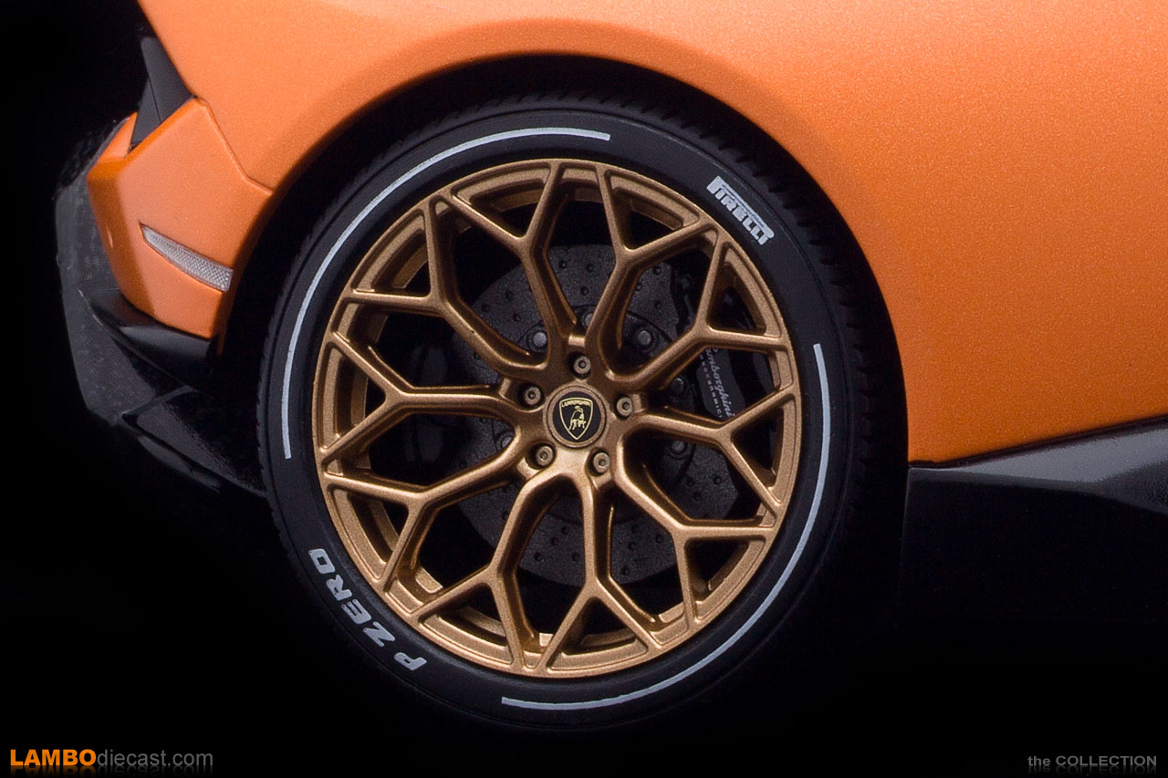 The stunning, bronze Narvi wheels with white livery on the tires on this Huracan Performante