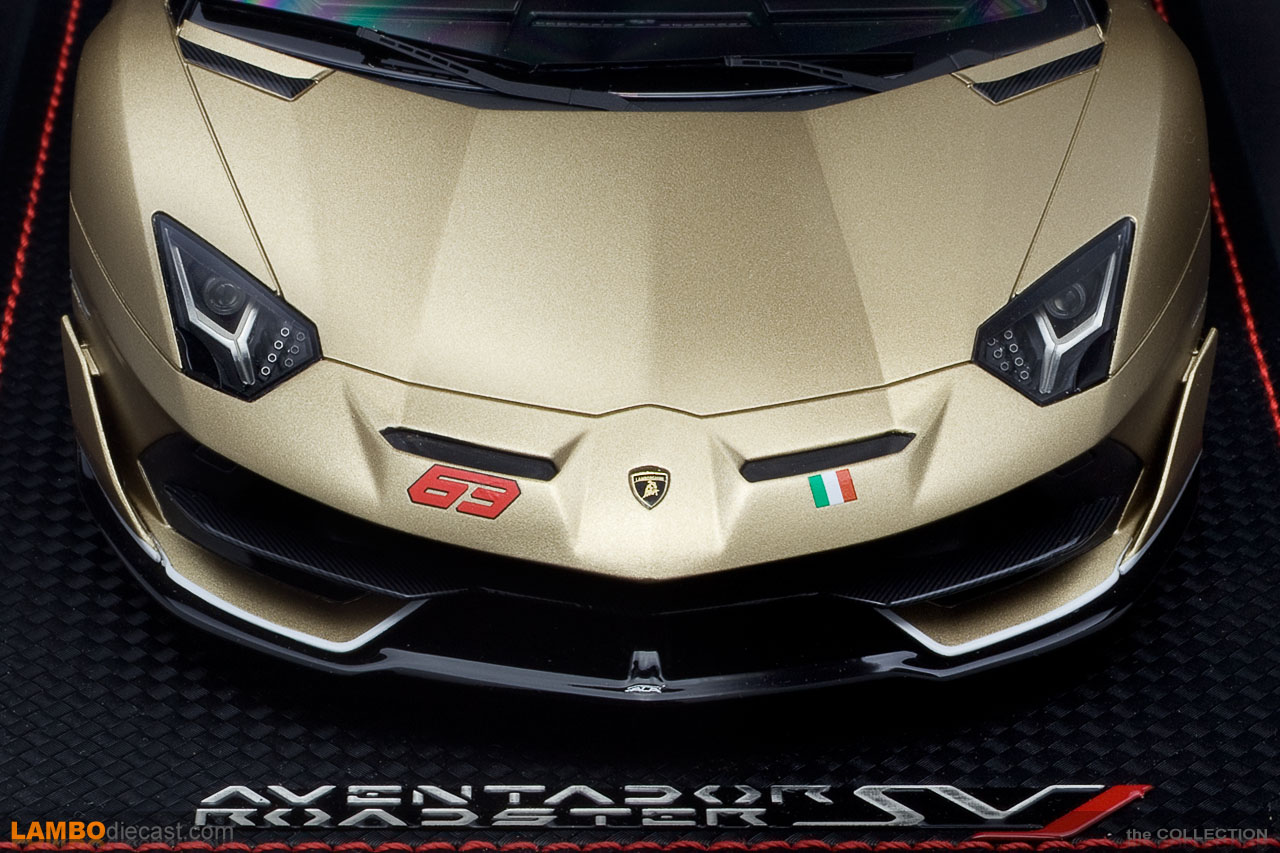 A 63 script and Italian flag on the front of the Lamborghini Aventador SVJ Roadster?