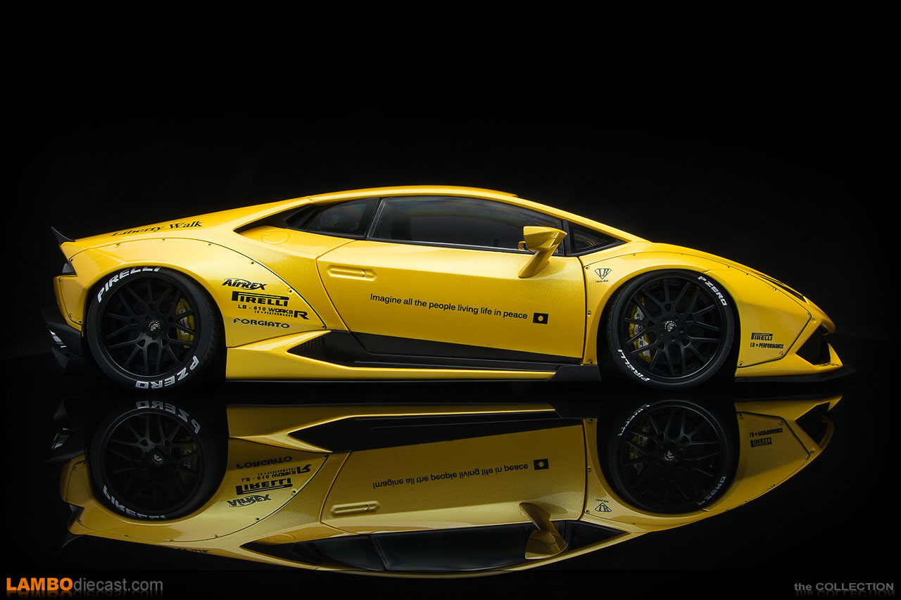 Side view of the 1/18 scale Lamborghini Huracán LB-Works by AUTOart